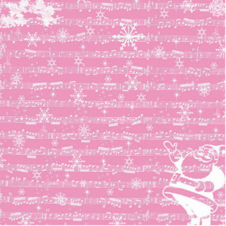 Vintage Pink Christmas Musical Sheet Acrylic Cut Out