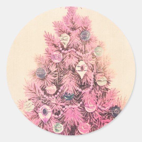 Vintage Pink Christmas Tree Classic Round Sticker