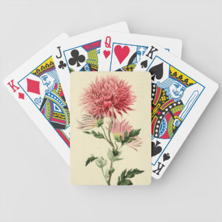Vintage Pink Chrysanthemum Flower Card Deck