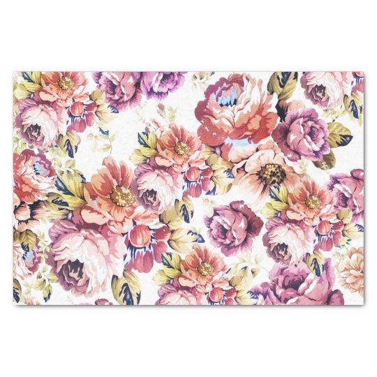 Vintage pink coral elegant roses floral pattern tissue