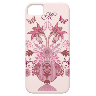 Vintage Pink damask bouquet and Monogram Case For The iPhone 5