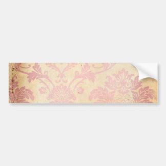 Vintage Pink Damask Bumper Sticker