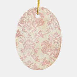 Vintage Pink Damask Christmas Ornament