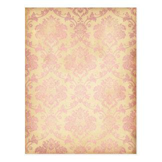 Vintage Pink Damask Postcard