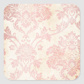 Vintage Pink Damask Square Sticker