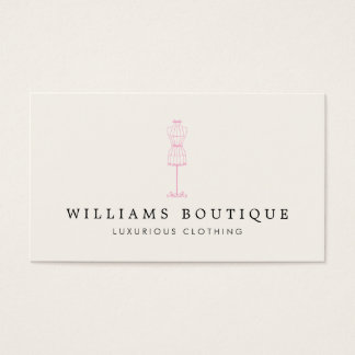 Vintage Pink Dress Form Boutique Business Card