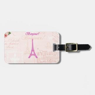 Vintage Pink Eiffel Tower Bag Tag