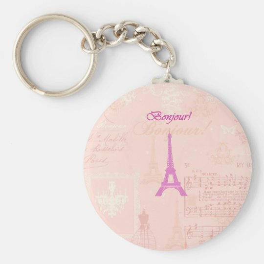 Vintage Pink Eiffel Tower Basic Round Button Key Ring