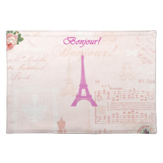 Vintage Pink Eiffel Tower Place Mats