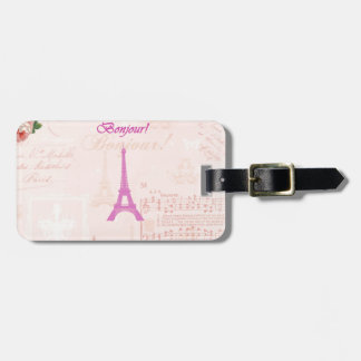 Vintage Pink Eiffel Tower Luggage Tag
