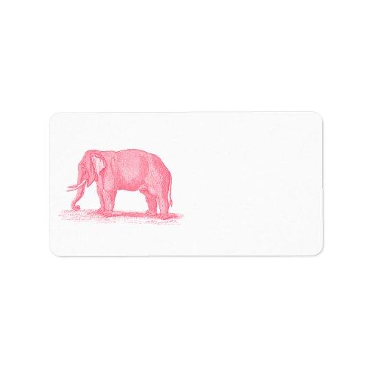 Vintage Pink Elephant 1800s Elephants Illustration Address Label