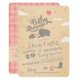 Vintage Pink Elephant Baby Shower Invitations
