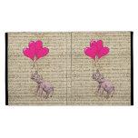 Vintage pink elephant & balloons iPad case