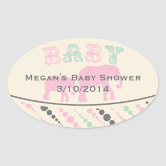 Vintage pink elephants Baby Shower Favor Stickers