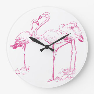 Vintage  Pink Flamingo Drawing Large Clock