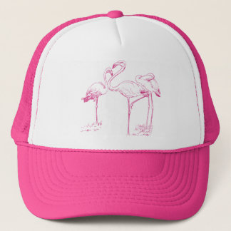 Vintage  Pink Flamingo Drawing Trucker Hat