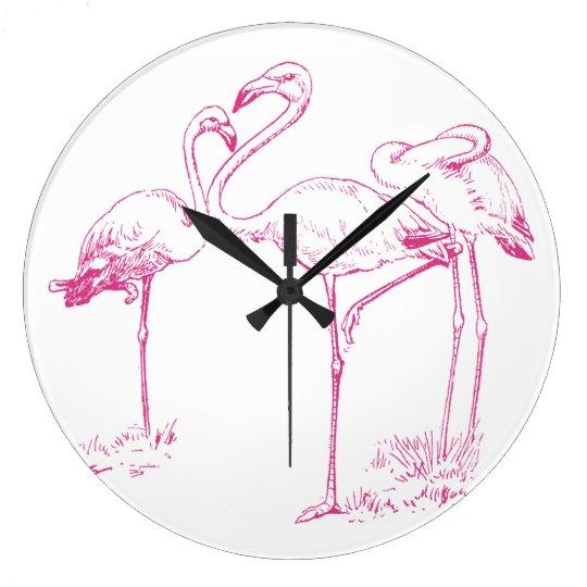 Vintage Pink Flamingo Drawing Wallclocks