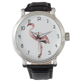 Vintage Pink Flamingo Painting Watch