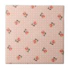 Vintage pink floral and dots tile