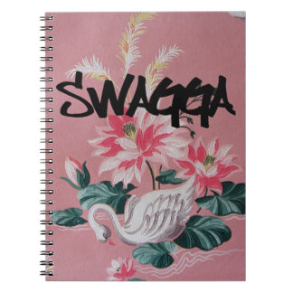 Vintage Pink Floral and Swan Wallpaper Notebook