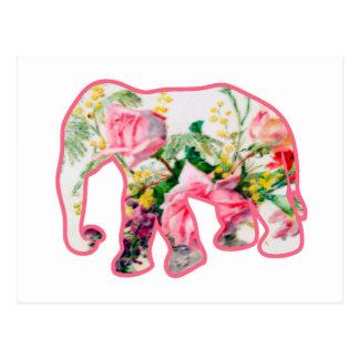 Vintage Pink & Floral Elephant Postcard