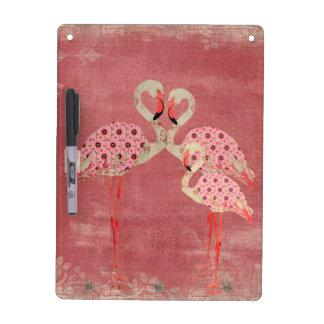 Vintage Pink Floral Flamingos  Dry Erase Board