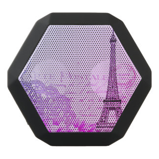 vintage pink floral, hina pattern eiffel tower black bluetooth speaker