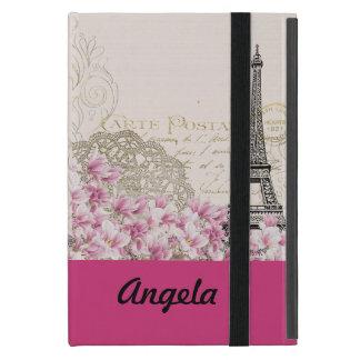 vintage pink floral, hina pattern eiffel tower iPad mini cover
