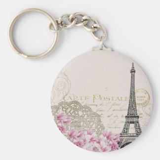 vintage pink floral, hina pattern eiffel tower key ring