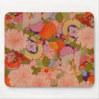 Vintage Pink Floral Kimono Flower Pattern Mouse Pad