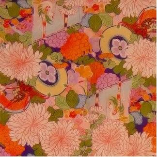 Vintage Pink Floral Kimono Flower Pattern Standing Photo Sculpture