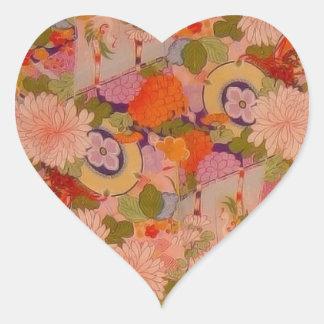 Vintage Pink Floral Kimono Flower Pattern Heart Sticker