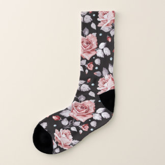 Vintage Pink Floral Pattern All-Over-Print Socks 1