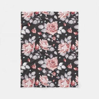 Vintage Pink Floral Pattern Fleece Blanket