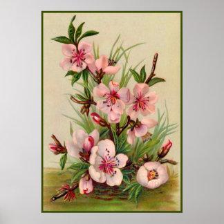 Vintage Pink Floral Poster
