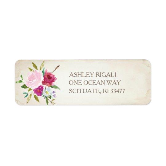 Vintage Pink Floral Return Address Label