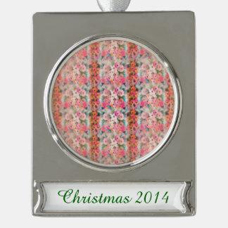 Vintage Pink Floral Stripes Silver Plated Banner Ornament