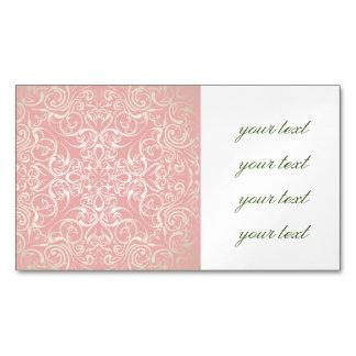 Vintage,pink,floral,victorian,gold,elegant,pattern Magnetic Business Cards (Pack Of 25)
