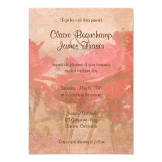 Vintage Pink Floral Wedding Card