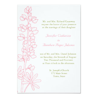 Vintage Pink Floral Wedding Invitations
