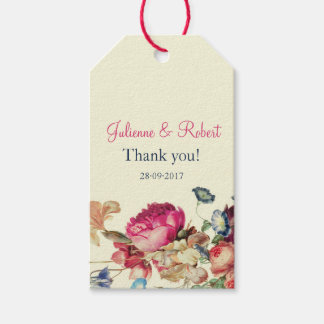 Vintage Pink Floral Wedding Thank You Tags