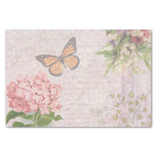 Vintage Pink flowers and butterfly Tissue Paper