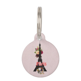 Vintage Pink Flowers French Paris Eiffel Tower Pet Tag