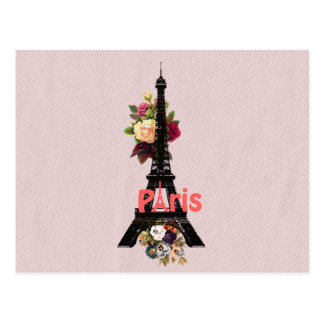 Vintage Pink Flowers French Paris Eiffel Tower Postcard