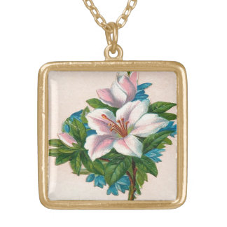 Vintage Pink Flowers, Grandmother Birthday Gold Plated Necklace