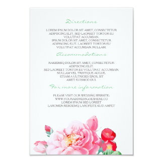 Vintage Pink Flowers Wedding Details- Information Card
