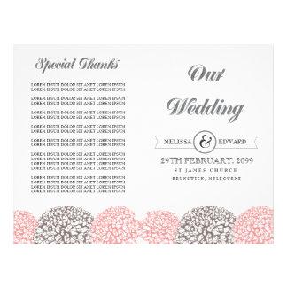 Vintage Pink Flowers Wedding Program Booklet Full Color Flyer