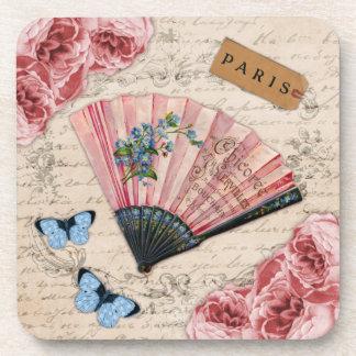 Vintage Pink French Fan Drink Coaster