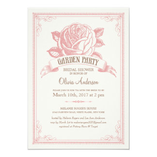 "Vintage Pink Garden Party Shower Invitations 5"" X 7"" Invitation Card"
