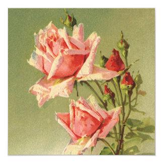 Vintage Pink Garden Roses for Valentine's Day Custom Invitation